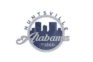 Huntsville, Alabama - Skyline Seal (Blue) by Lantern Press