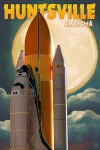 Huntsville, Alabama - Space Shuttle and Full Moon by Lantern Press