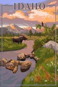 Idaho - Moose and Sunset by Lantern Press