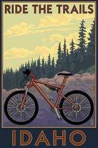 Idaho - Mountain Bike Scene by Lantern Press