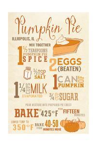 Illiopolis, Illinois - Pumpkin Pie Recipe - Typography by Lantern Press