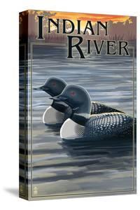 Indian River, Michigan - Loon Scene by Lantern Press