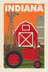 Indiana - Country - Woodblock by Lantern Press