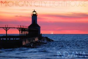 Indiana - Michigan City Lighthouse by Lantern Press