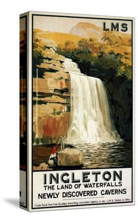 Ingleton, England - Spectators Climb on Waterfall Railway Poster