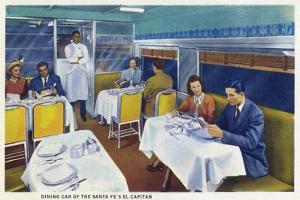Interior View of a Santa Fe Train Dining Car by Lantern Press
