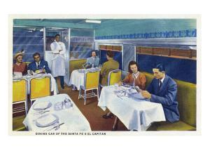 Interior View of a Santa Fe Train Dining Car by Lantern Press
