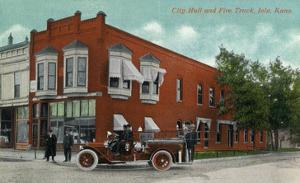 Iola, Kansas - City Hall Exterior with Fire Engine View by Lantern Press