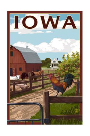 Iowa - Barnyard Scene by Lantern Press