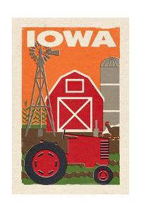 Iowa - Country - Woodblock by Lantern Press