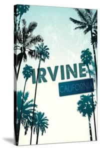 Irvine, California - Street Sign and Palms by Lantern Press