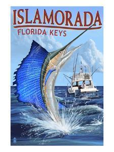 Islamorada, Florida Keys - Sailfish Scene by Lantern Press
