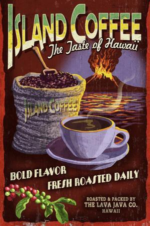 Island Coffee - Vintage Sign by Lantern Press