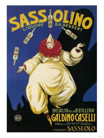 Italy - Sassolino Liquore da Dessert Promotional Poster by Lantern Press