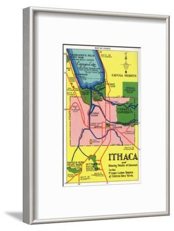 Ithaca, New York - Detailed Map Postcard of Ithaca and Nearby Points of Interest