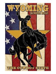 Jackson Hole, Wyoming - Bronco and Star by Lantern Press