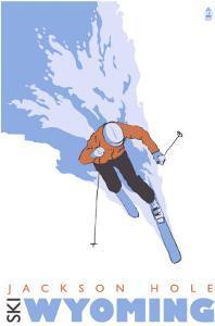 Jackson Hole, Wyoming, Skier Stylized by Lantern Press