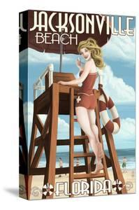 Jacksonville Beach, Florida - Lifeguard Pinup Girl by Lantern Press