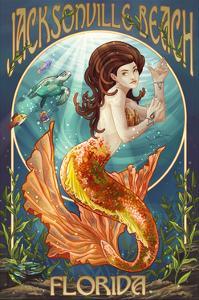Jacksonville Beach, Florida - Mermaid Scene by Lantern Press