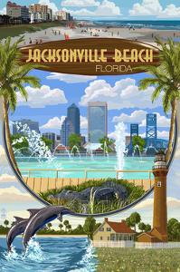 Jacksonville Beach, Florida - Montage Scenes by Lantern Press