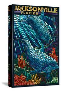 Jacksonville, Florida - Dolphins Paper Mosaic by Lantern Press