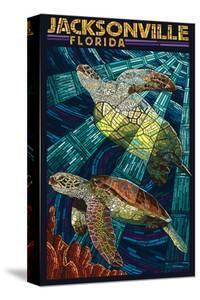 Jacksonville, Florida - Sea Turtle Paper Mosaic by Lantern Press