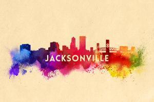 Jacksonville, Florida - Skyline Abstract by Lantern Press