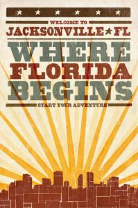Jacksonville, Florida - Skyline and Sunburst Screenprint Style by Lantern Press