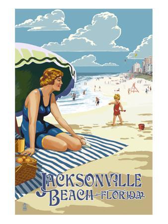 Jacksonville, Florida - Woman and Beach Scene by Lantern Press
