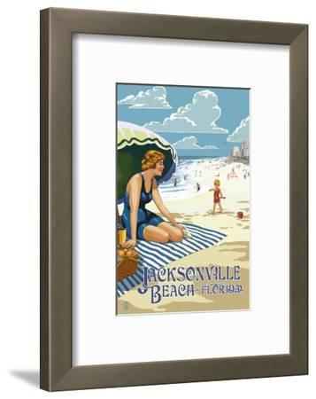 Jacksonville, Florida - Woman and Beach Scene