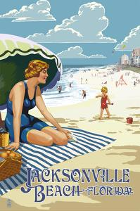 Jacksonville, Florida - Woman and Beach Scene by Lantern Press