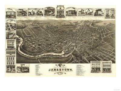 Jamestown, New York - Panoramic Map by Lantern Press