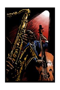 Jazz Band - Scratchboard by Lantern Press