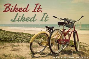Jekyll Island, Georgia - Biked It, Liked it - Bicycles and Beach Scene by Lantern Press