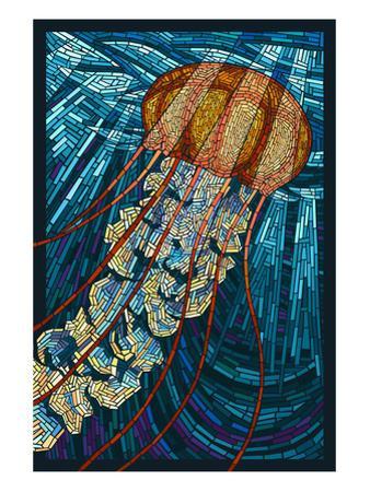 Jellyfish - Paper Mosaic by Lantern Press