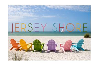 Jersey Shore - Colorful Chairs by Lantern Press
