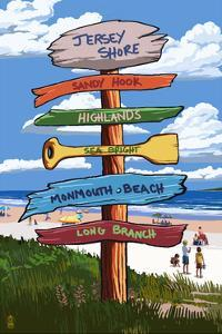 Jersey Shore - Signpost Destinations by Lantern Press