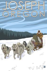 Joseph, Oregon - Dog Sled Scene by Lantern Press