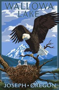 Joseph, Oregon - Wallowa Lake Eagle and Chicks by Lantern Press