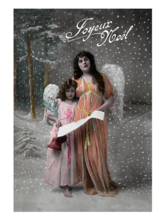Joyeux Noel - Merry Christmas in French, Little Girl Carols with Angel