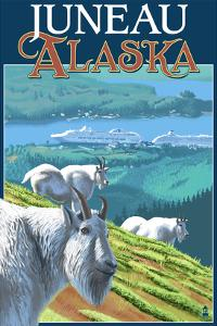 Juneau, Alaska - Goats and Cruise Ships by Lantern Press