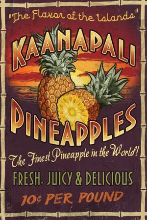 Kaanapali, Hawaii - Pineapple Vintage Sign by Lantern Press