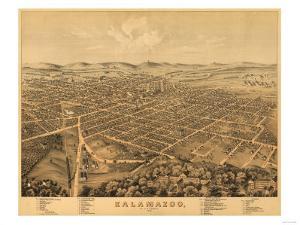 Kalamazoo, Michigan - Panoramic Map by Lantern Press