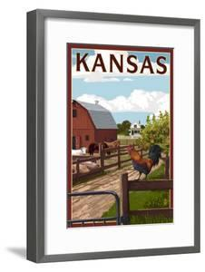 Kansas - Barnyard Scene by Lantern Press