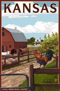 Kansas - Barnyard Scene by Lantern Press