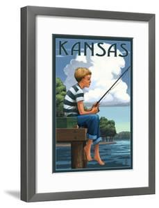 Kansas - Boy Fishing by Lantern Press