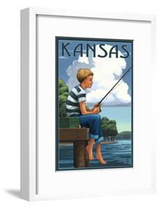 Kansas - Boy Fishing by Lantern Press