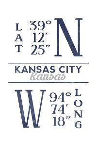 Kansas City, Kansas - Latitude and Longitude (Blue) by Lantern Press
