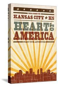 Kansas City, Kansas - Skyline and Sunburst Screenprint Style by Lantern Press