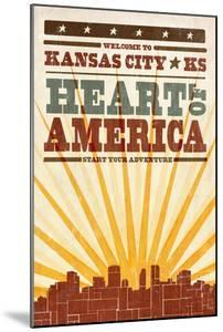 Kansas City, Kansas - Skyline and Sunburst Screenprint Style by Lantern Press